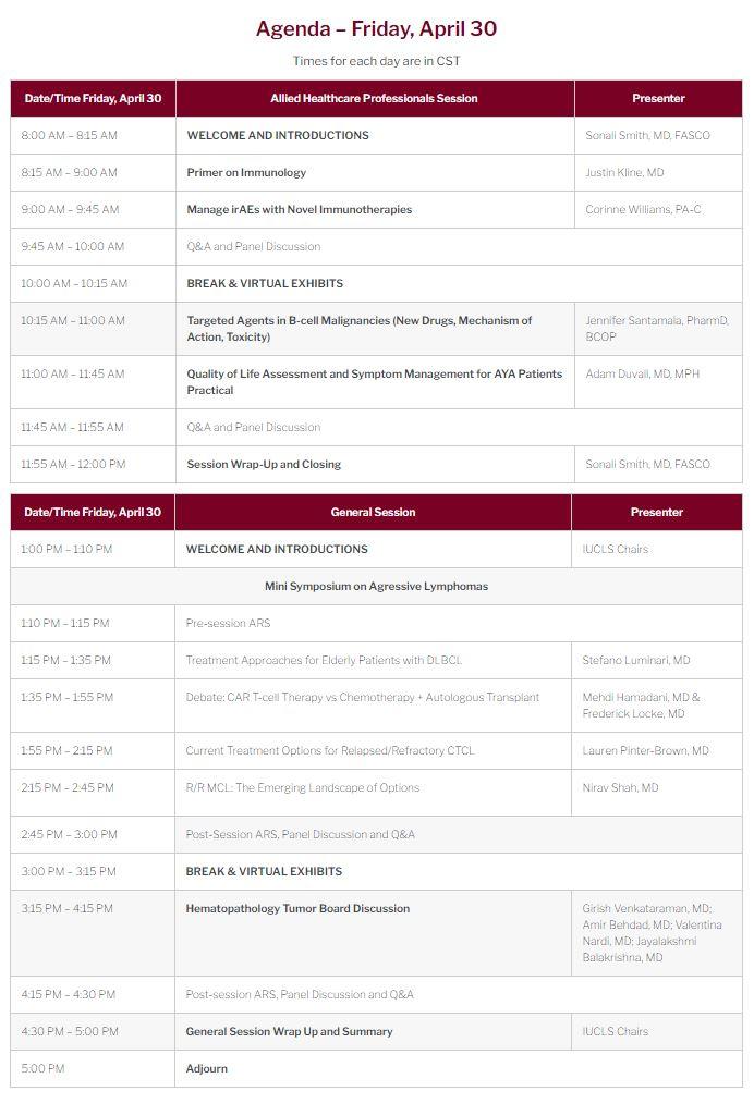 18th Annual International Ultmann Chicago Lymphoma Symposium Agenda
