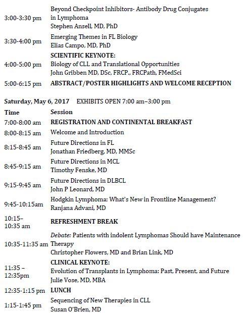 15th International Ultmann Chicago Lymphoma Symposium Schedule