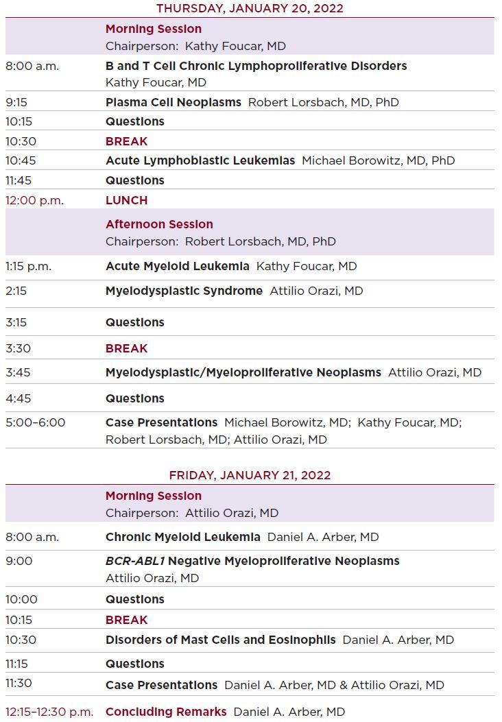 2022 Tutorial on Neoplastic Hematopathology Agenda