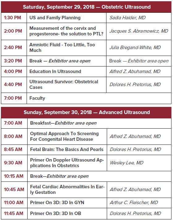 Chicago OB/GYN Ultrasound Symposium 2018 Schedule