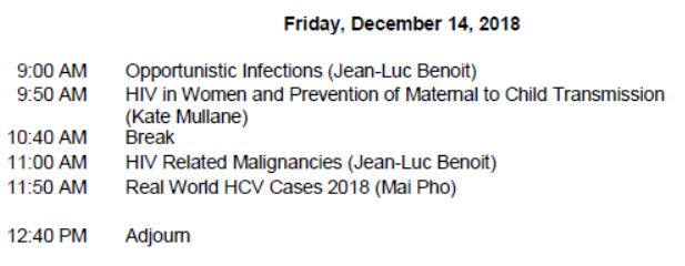 HIV/HCV Mini-Residency-December 2018 Schedule