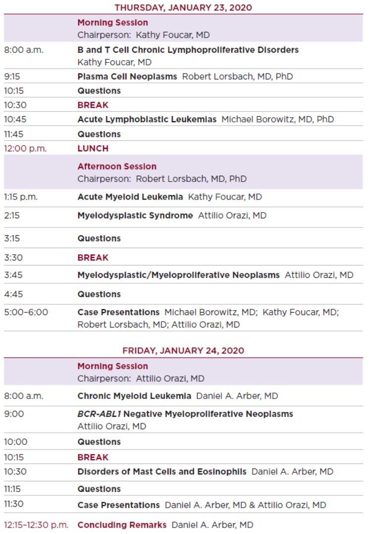 2020 Tutorial on Neoplastic Hematopathology Schedule