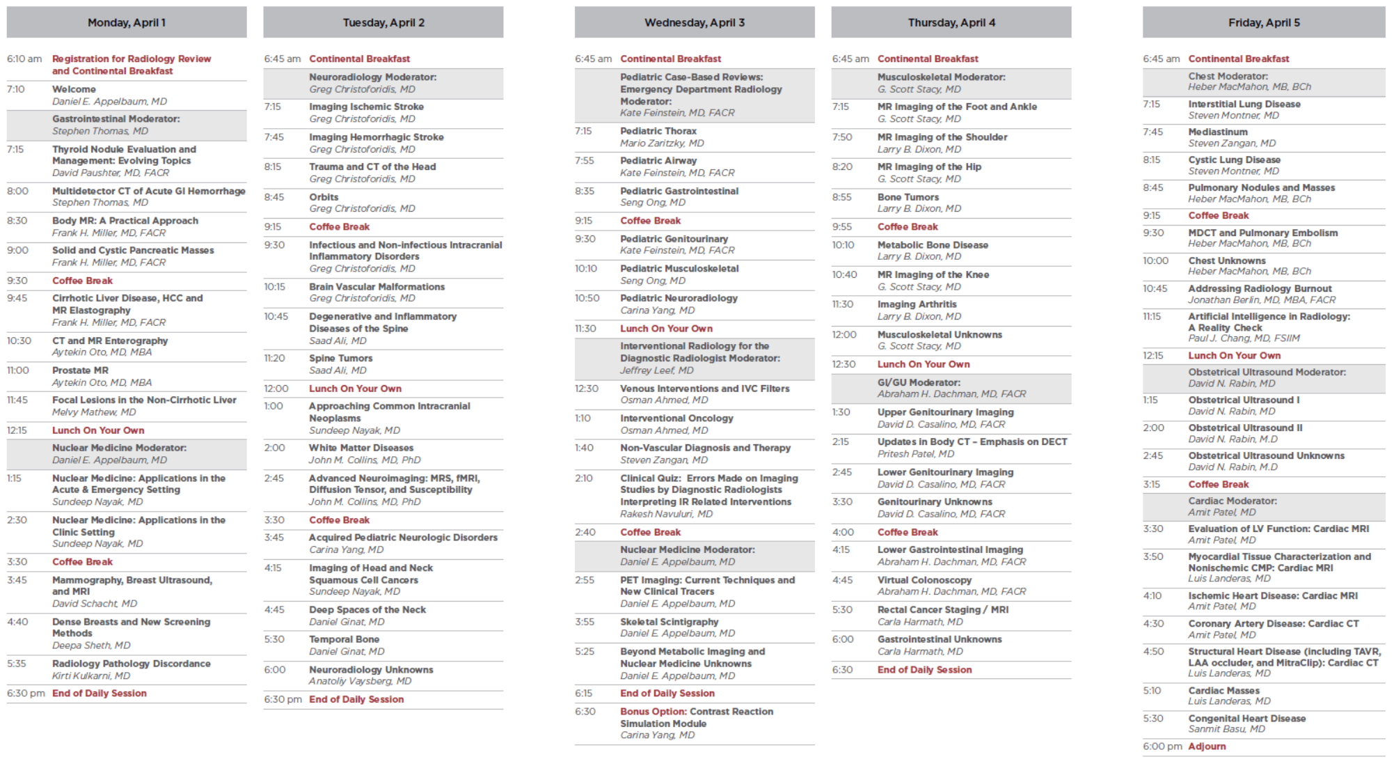 24th Annual Conference: 2019 Radiology Review Schedule