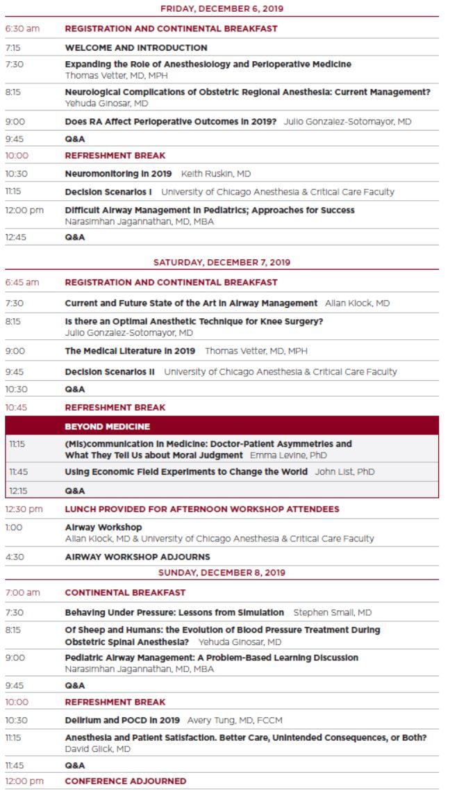 33rd Annual Conference: Challenges for Clinicians Schedule