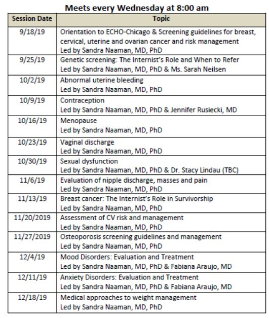 ECHO-Chicago: Risk-Based Approach to Women's Healthcare-Fall 2019 Schedule
