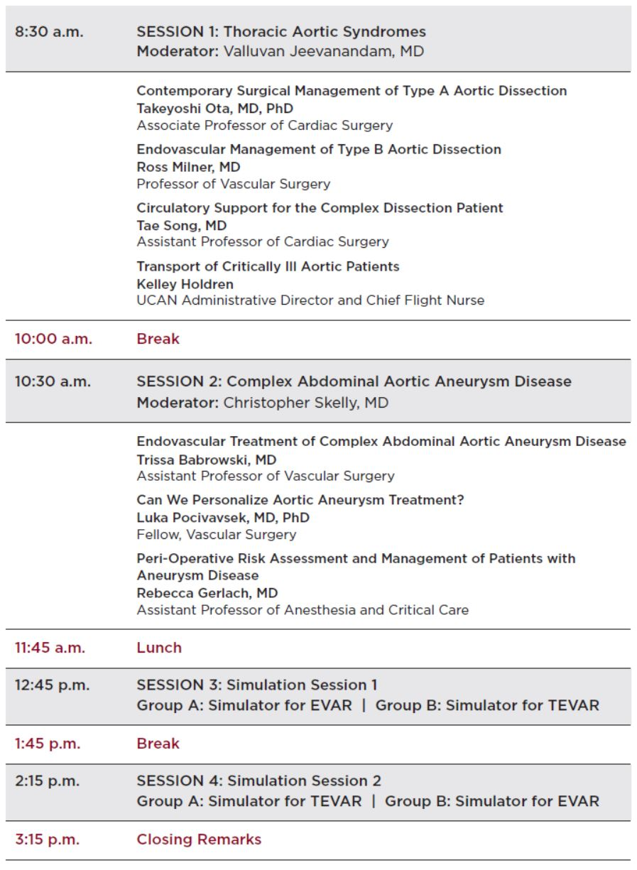 Aortic Disease Symposium Agenda
