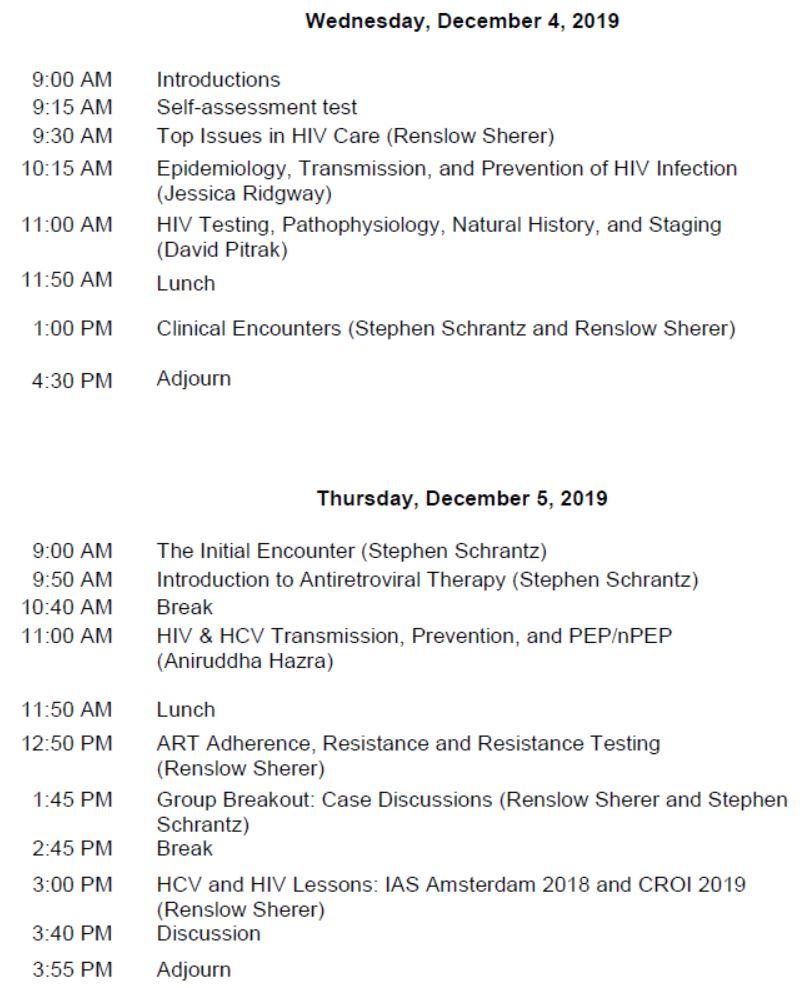 HIV/HCV Mini-Residency-December 2019 Schedule