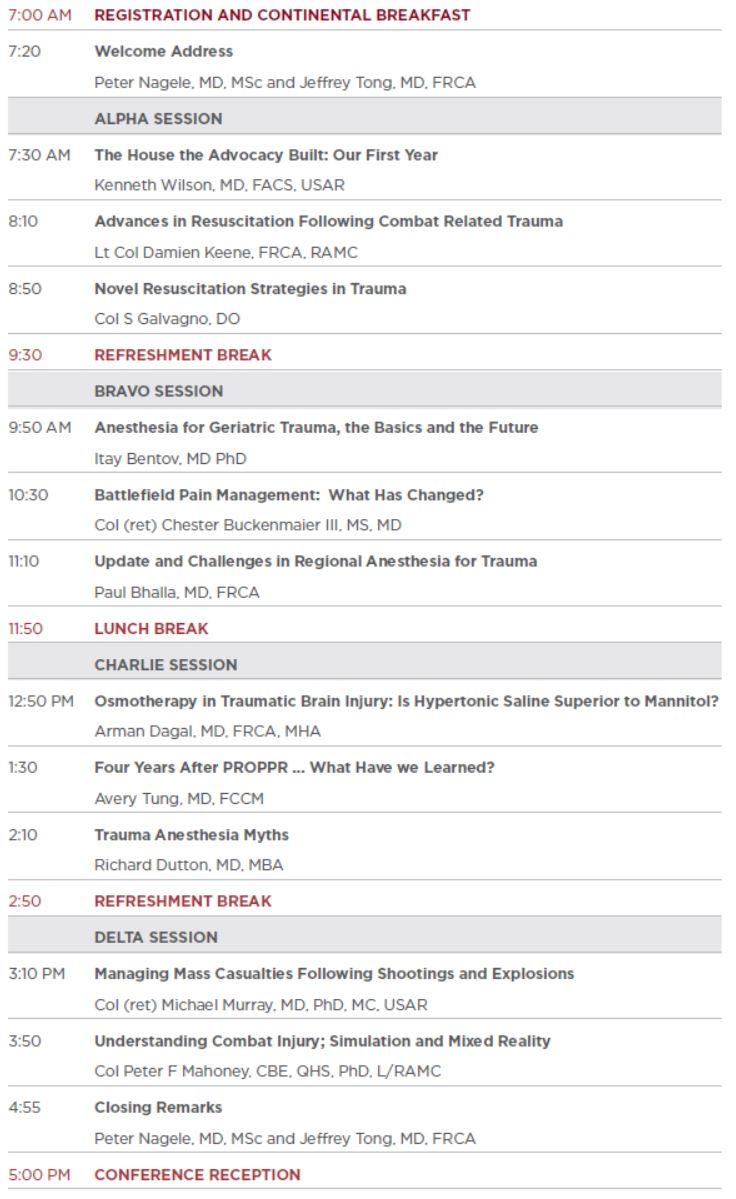 Trauma Anesthesia and Resuscitation Conference Agenda