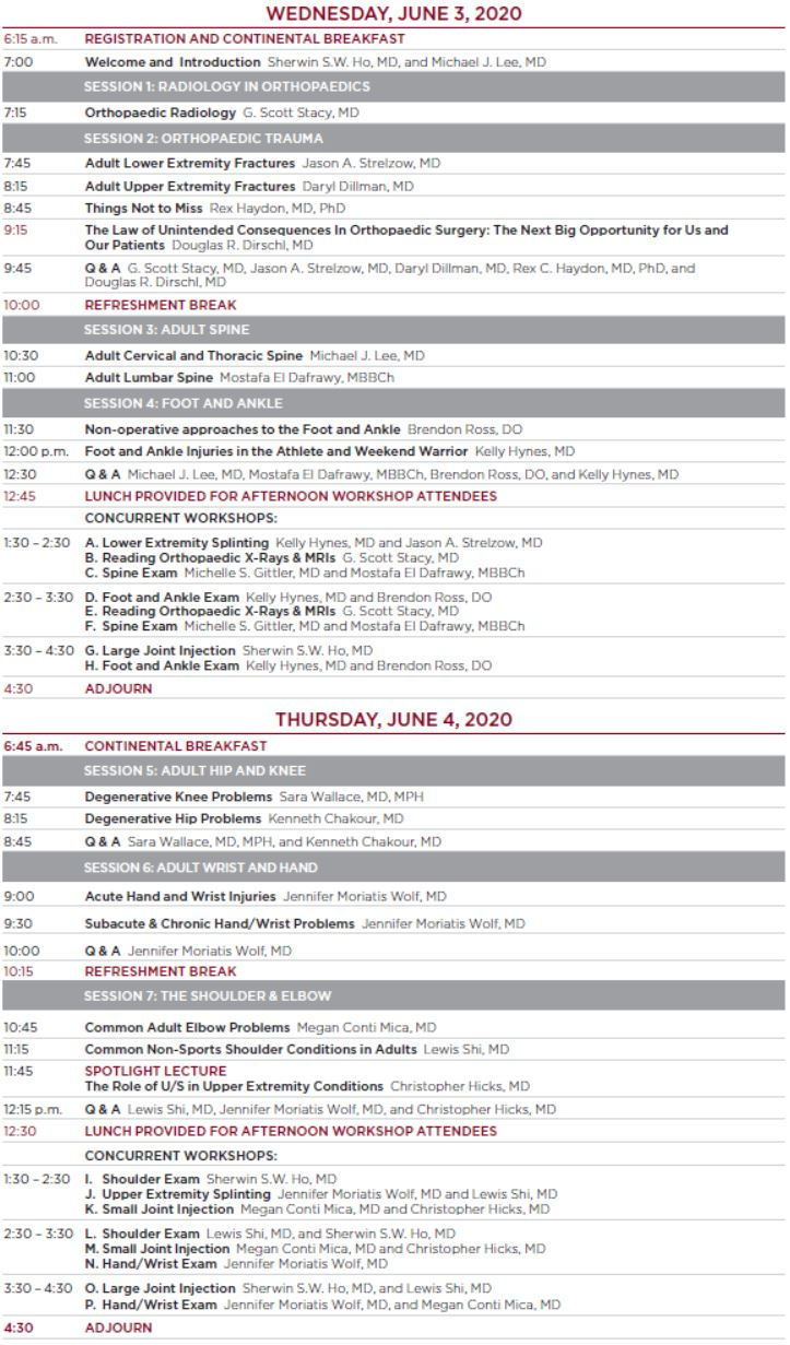 26th Annual Primary Care Orthopaedics Schedule