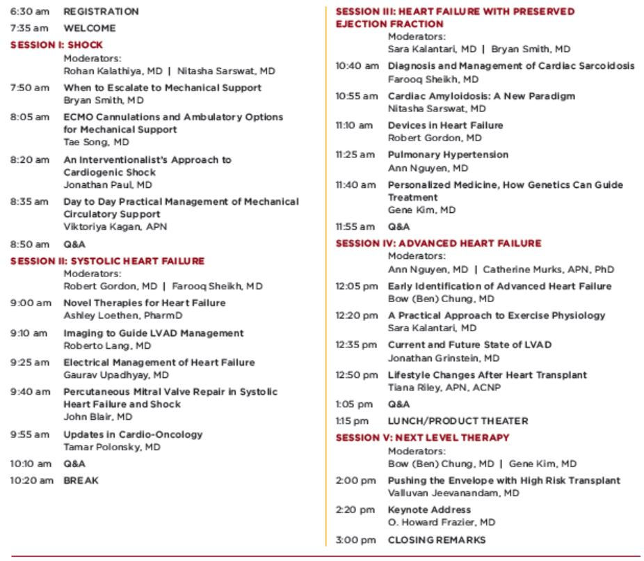 Courage and Innovation Symposium 2020: Heart Failure and Heart Transplantation at the University of Chicago Agenda