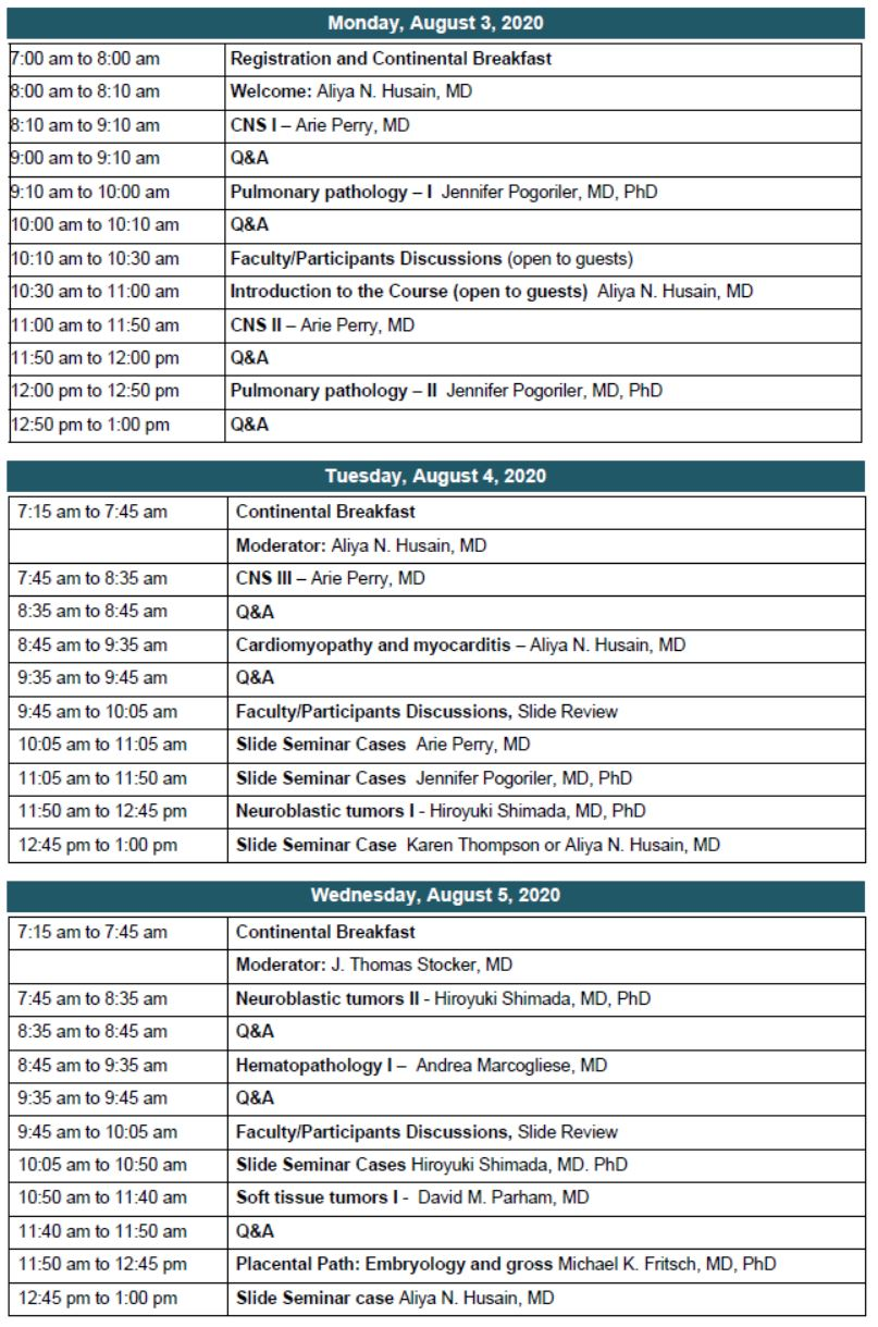 38th Aspen Conference on Pediatric Disease Schedule