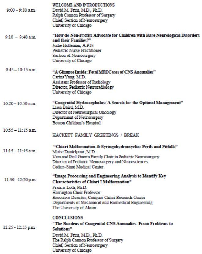 Margaret Hackett Family Center Program Symposium Agenda