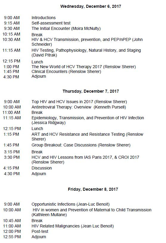 HIV/HCV Mini-Residency-December 2017 Schedule