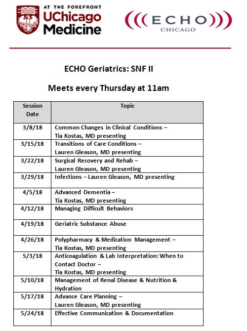 ECHO-Chicago: Geriatrics for Skilled Nursing Facilities Schedule