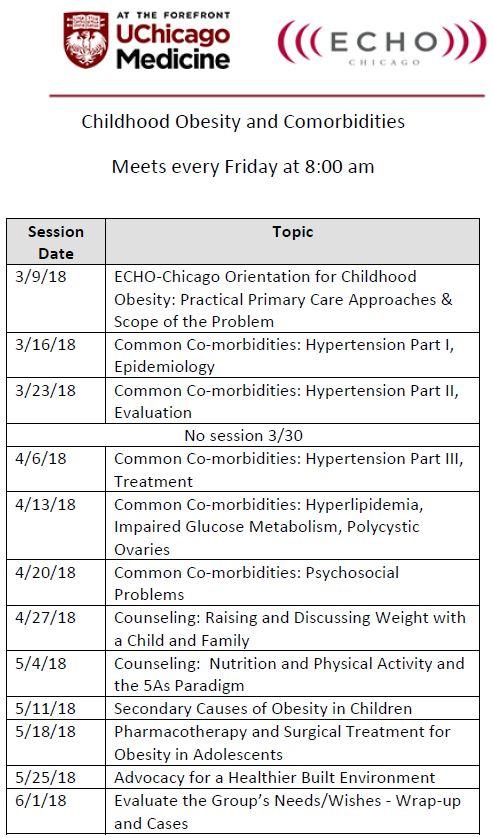 ECHO-Chicago: Childhood Obesity Schedule