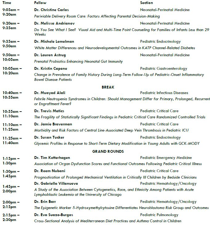 Pediatric Research Day Agenda