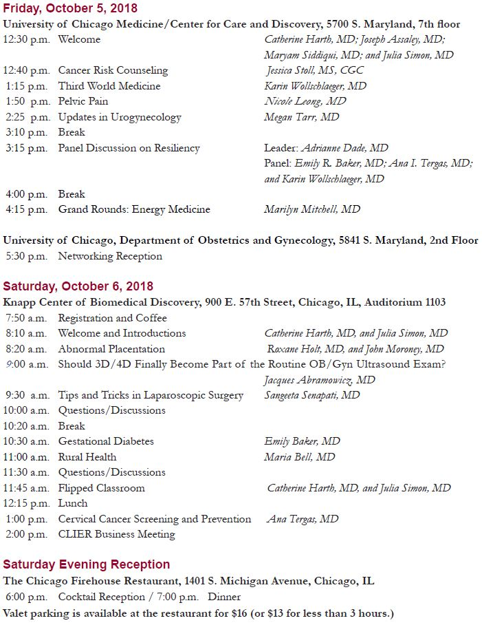 CLIER 2018: Updates in Obstetrics and Gynecology Schedule