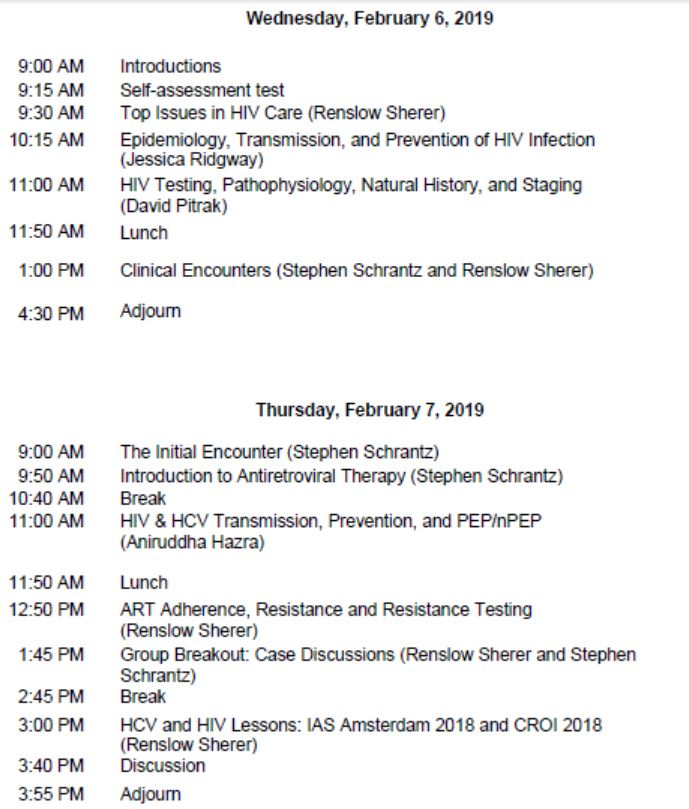 HIV/HCV Mini-Residency-February 2019 Agenda