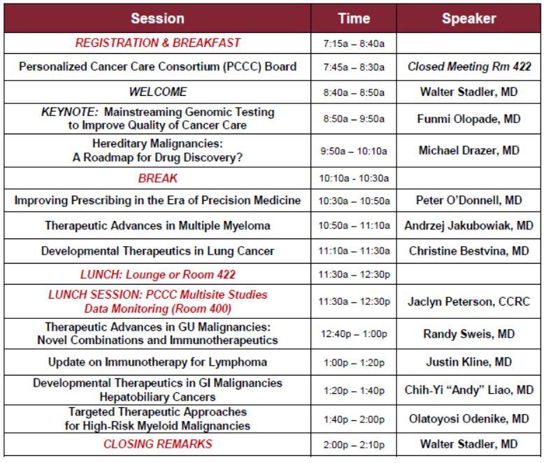 24th Annual University of Chicago Developmental Therapeutics Symposium Agenda
