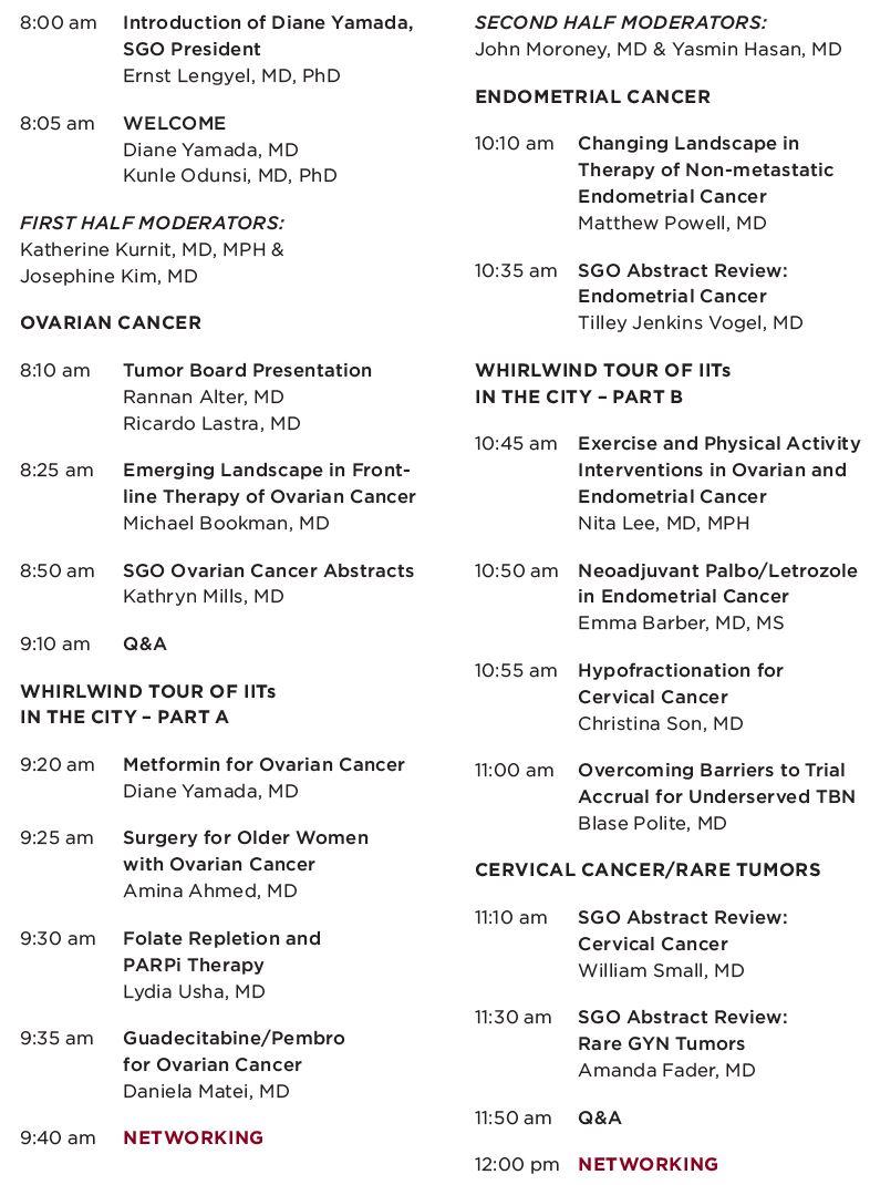 Chicago GYN Oncology Updates Agenda