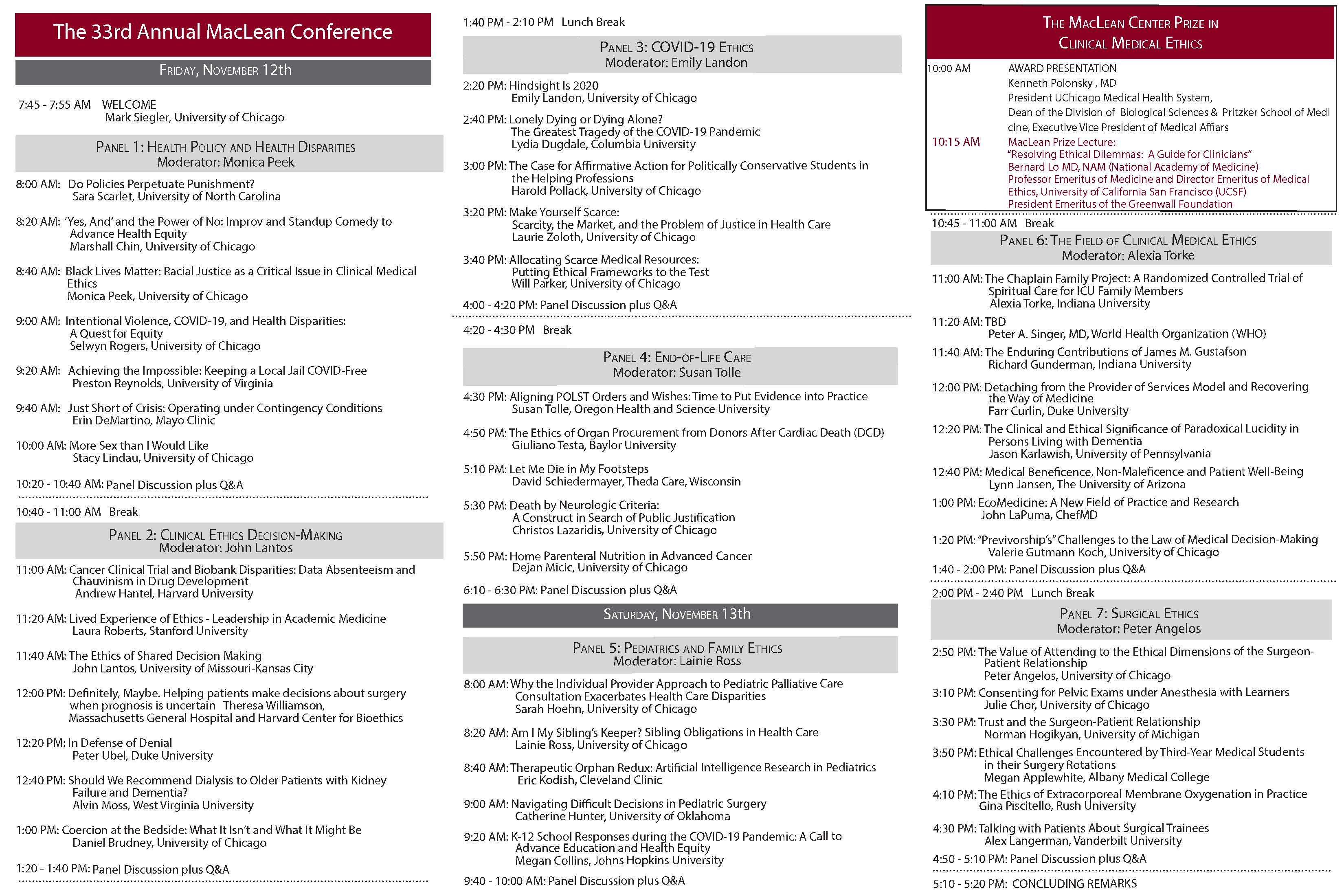 33rd Annual Dorothy J. MacLean Fellows Conference on Clinical Medical Ethics Schedule