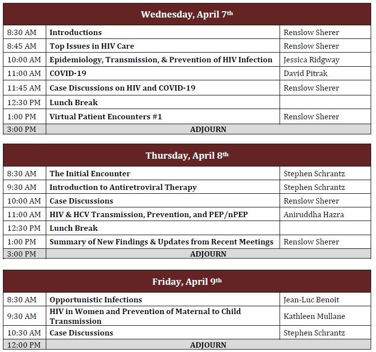 HIV/HCV Mini-Residency-April 2021 Schedule