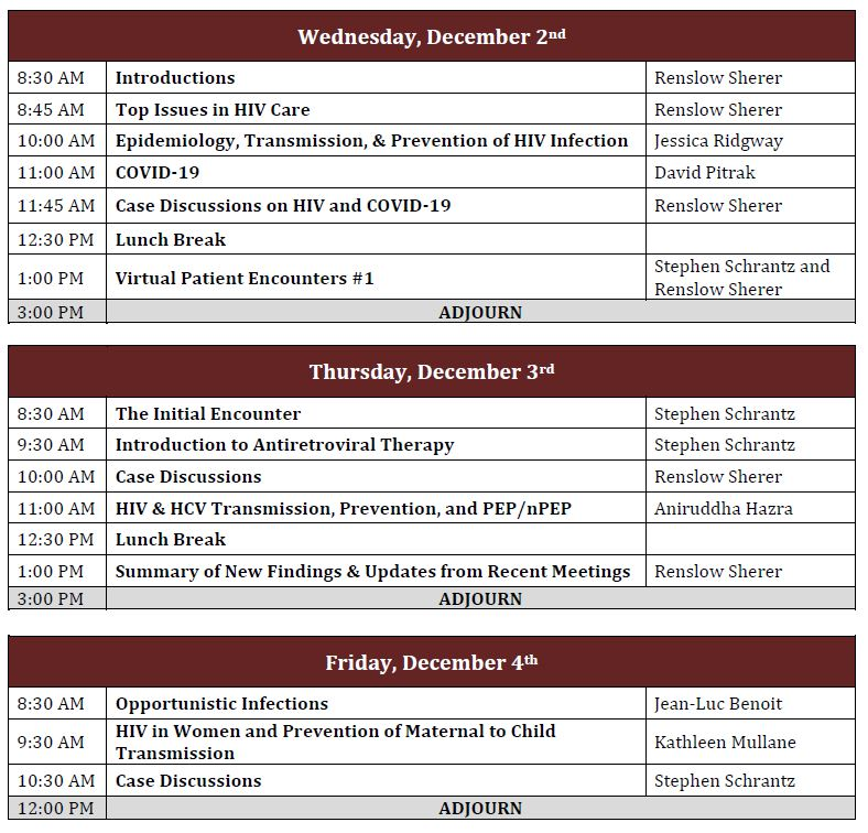 HIV/COVID-19 Mini-Residency-December 2020 Agenda