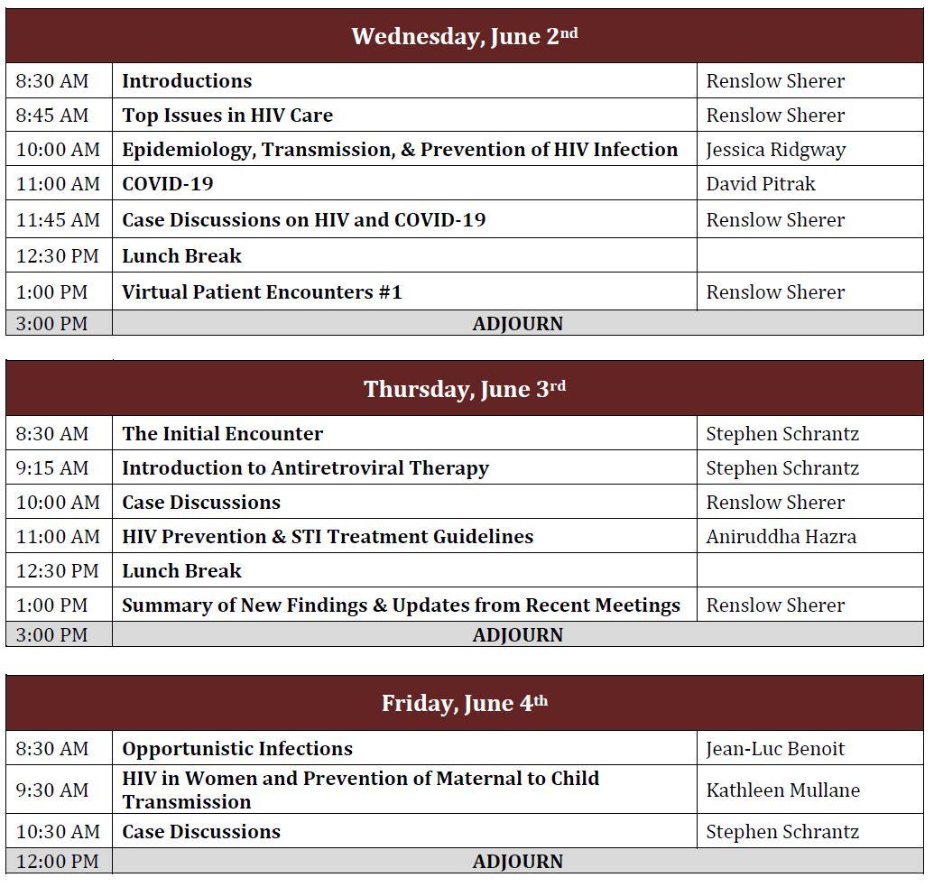 HIV/COVID-19 Mini-Residency-June 2021 Schedule