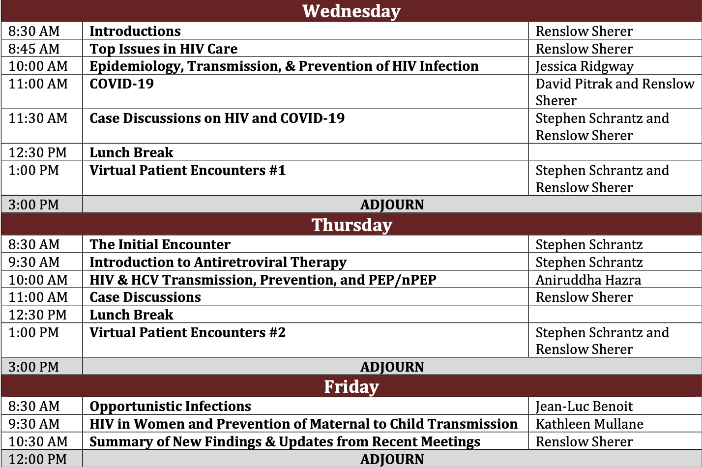 HIV/HCV Mini Residency Agenda