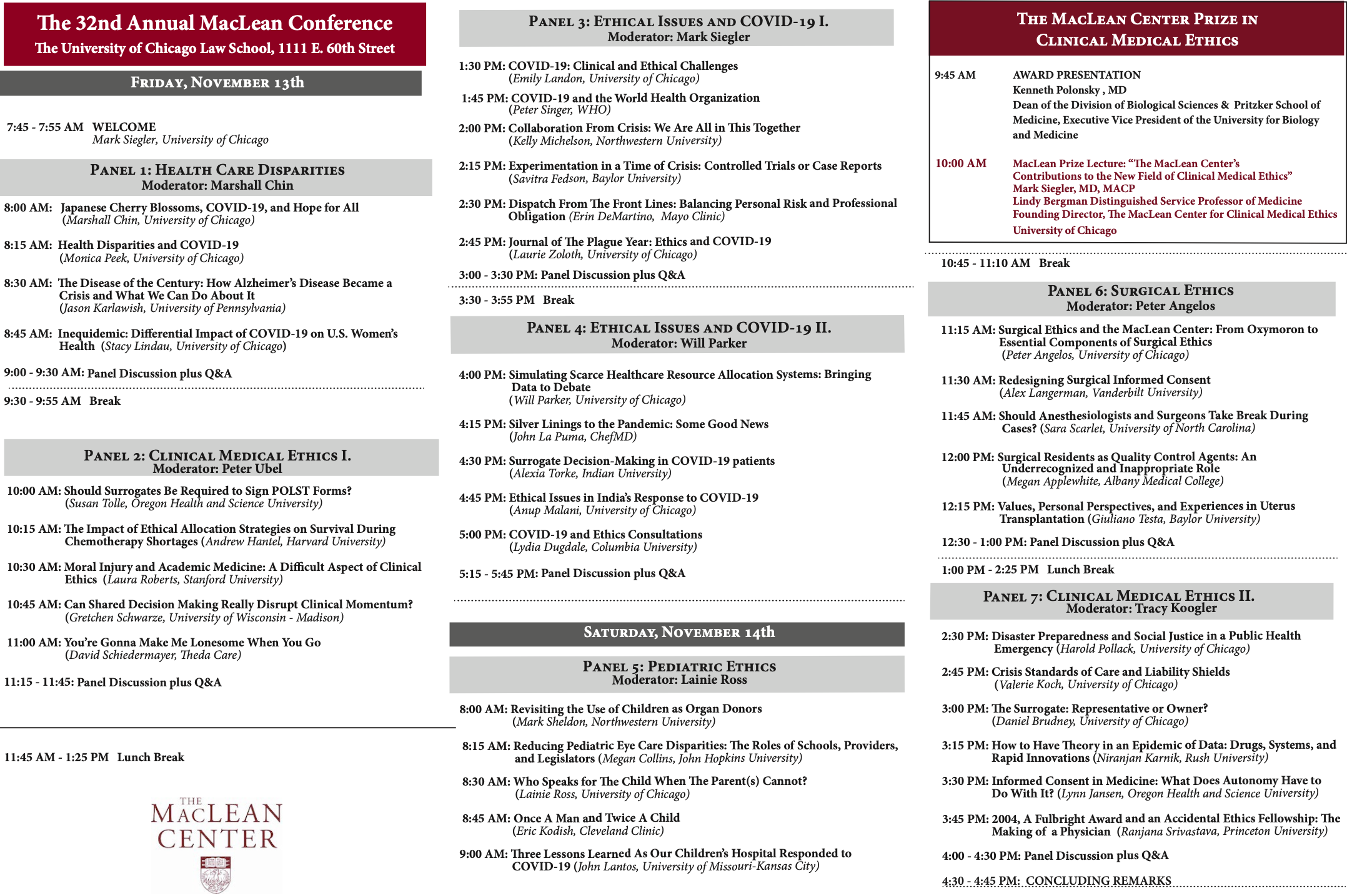 32nd Annual MacLean Conference Agenda