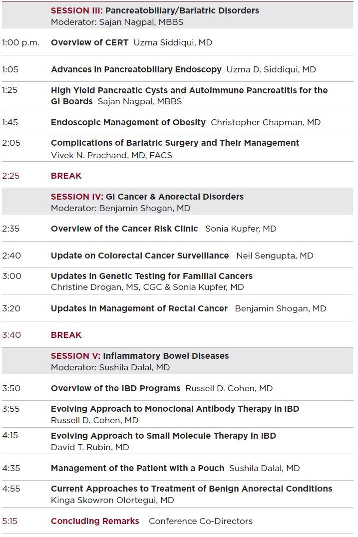 Sixth Annual Updates in Digestive Diseases Agenda