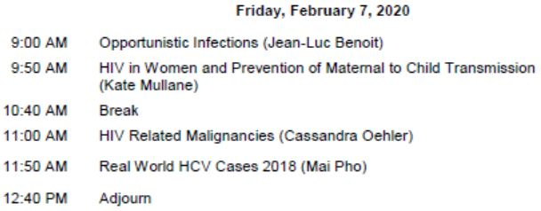 HIV/HCV Mini-Residency-February 2020 Schedule