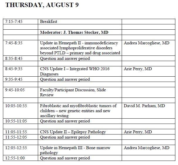 37th Aspen Conference on Pediatric Disease Agenda